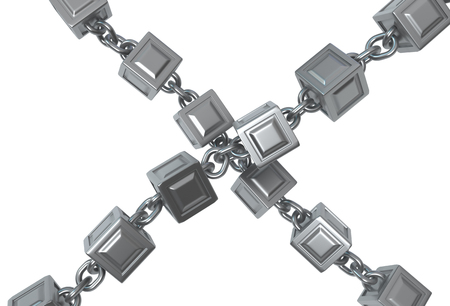 Metal block chains crossed isolated, 3d illustration, horizontal, over white