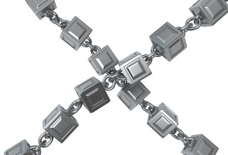 Metal block chains crossed isolated, 3d illustration, horizontal, over white 版權商用圖片 - 117590014