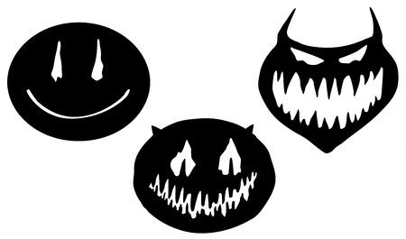 Smile face horror transformation stencil black, vector illustration, horizontal, isolated
