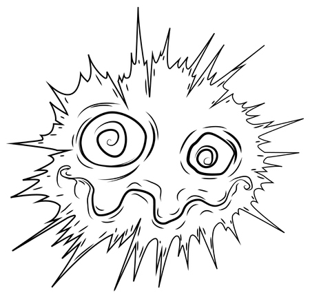 Freaked out face expression surreal exploding cartoon line drawing, vector, horizontal, over white