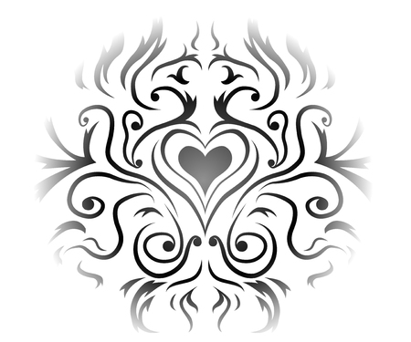 Heart Valentine decorative ornament design grey, vector illustration, horizontal