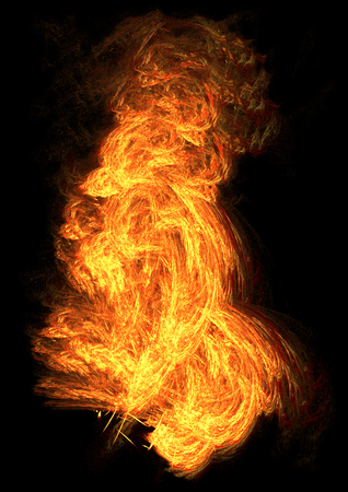 Fire tall blaze special effect abstract, dark background, vertical, isolated, over black