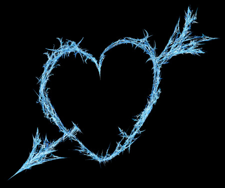 Ice heart arrow shot shape abstract, horizontal, isolated, over black Stock Photo
