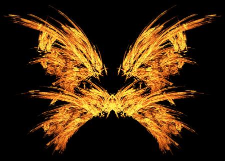 Braci di fuoco ali di farfalla effetto speciale astratto, orizzontale, isolato su nero Archivio Fotografico