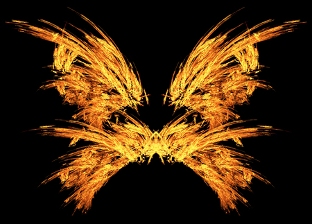 Fire embers butterfly wings special effect abstract, horizontal, isolated, over black