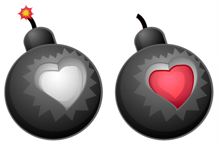 Love bomb cartoon color vector illustration design element, horizontal, over white, isolated Illustration