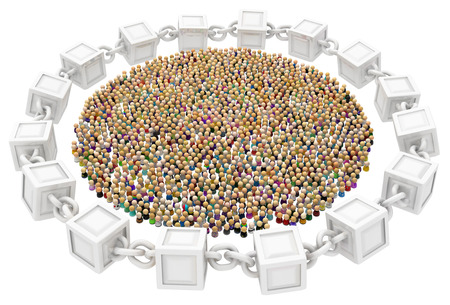 Crowd of small symbolic figures, surrounded by block chain circle, 3d illustration, horizontal background, over white, isolated