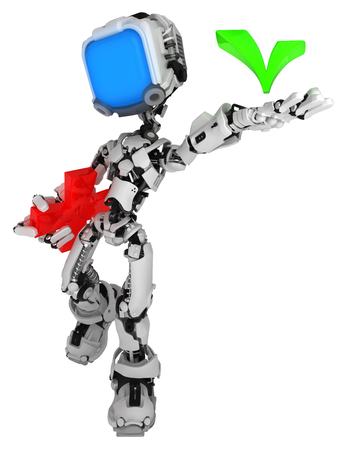 Screen robot figure character pose with checkmark, 3d illustration, over white, vertical, isolated