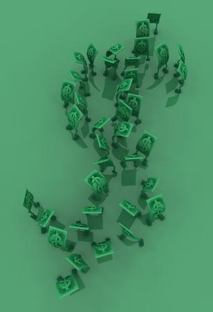 Dollar money symbol cartoon characters green big shape, 3d illustration, vertical background Stock Illustration - 117590152