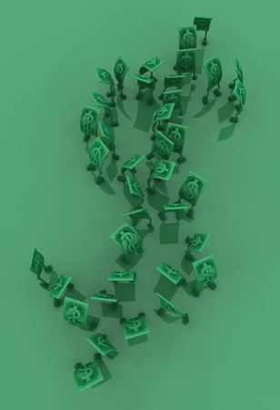 Dollar money symbol cartoon characters green big shape, 3d illustration, vertical background Stock Photo