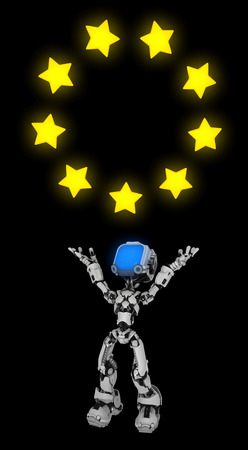 Screen robot figure character pose holding star ring, 3d illustration, over black background, vertical