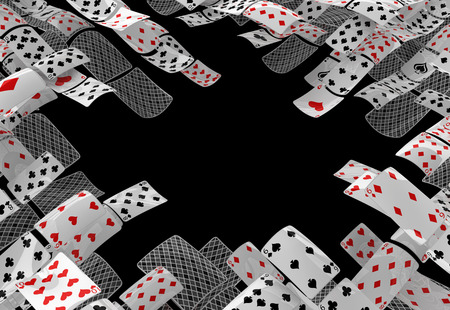 Cards game gambling poker play abstract empty center, 3d illustration, horizontal, over black, isolated Stock Photo