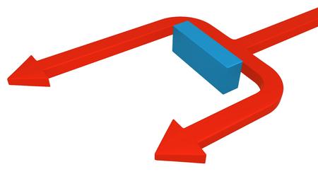 Red symbolic arrow split passing around blue block, 3d illustration, horizontal, over white, isolated