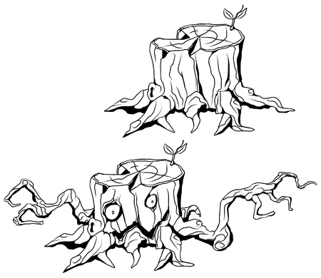 Tree stump monster line cartoon drawing black and white, vector illustration, horizontal, isolated Illustration