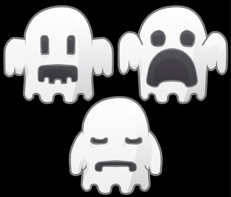 Ghost character poses set cartoon color vector illustration design elements, horizontal, over black, isolated Vectores
