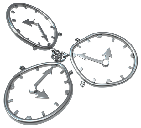 3 linked metal clocks, 3d illustration