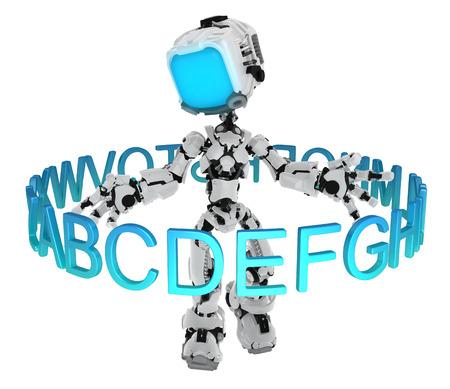 Screen robot figure character pose with alphabet ring, 3d illustration Banco de Imagens - 119368763