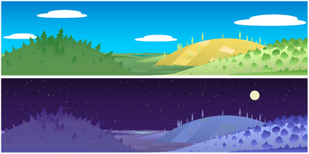 Landscape hills day and night cartoon nature wide view panorama banner, vector illustration, horizontal