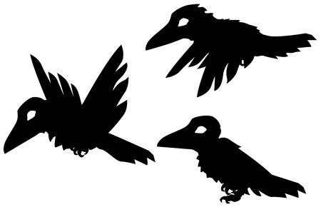 Small crow cartoon character black silhouettes actions set, vector illustration, horizontal, isolated, over white Illustration