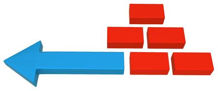Blue symbolic arrow and red bricks, 3d illustration Foto de archivo