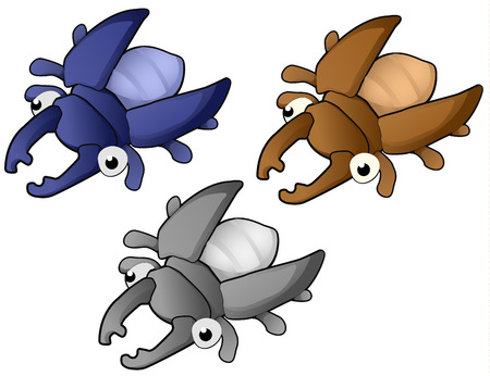 Beetle cartoon character color variants set  illustration