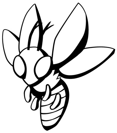 Wasp fly bug cartoon line drawing