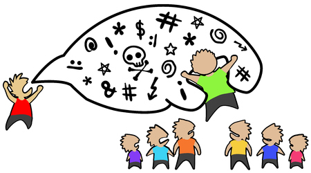 Conversation swearing people, one singled out, cartoon color drawing, vector illustration, horizontal, over white