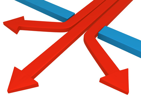 Red symbolic arrow spreading out, 3d illustration