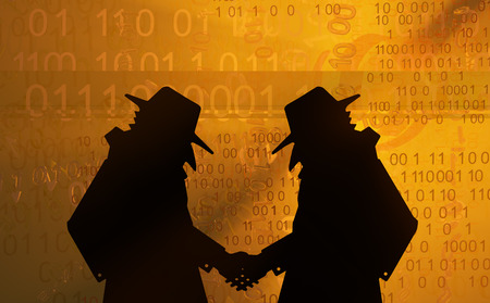 Spy shadow figures handshake, 3d illustration Stock Photo
