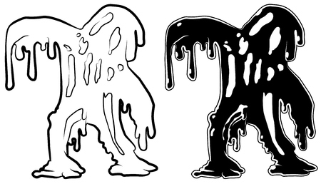Oil soaked figure cartoon character black silhouette, vector illustration, horizontal, isolated, over white