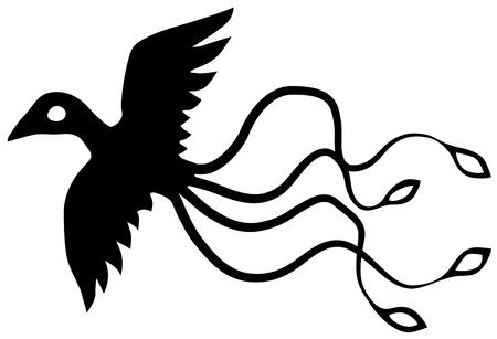 Bird exotic flying stencil black, vector illustration, horizontal, isolated