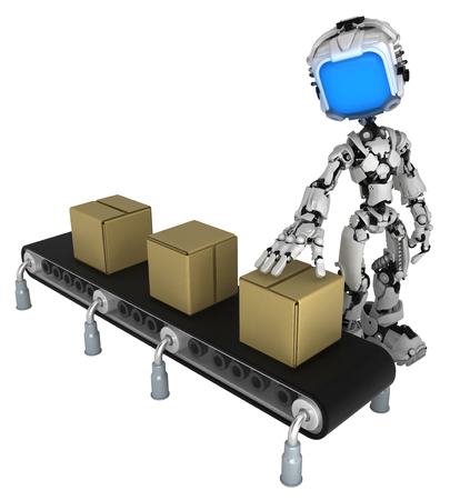 Screen robot figure character pose conveyor cardboard box check, 3d illustration, horizontal, isolated Stock fotó
