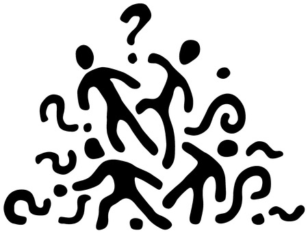 People question stencil black, vector illustration, horizontal, isolated