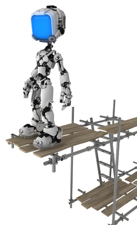 Screen robot figure character standing on scaffolding, 3d illustration, vertical, isolated