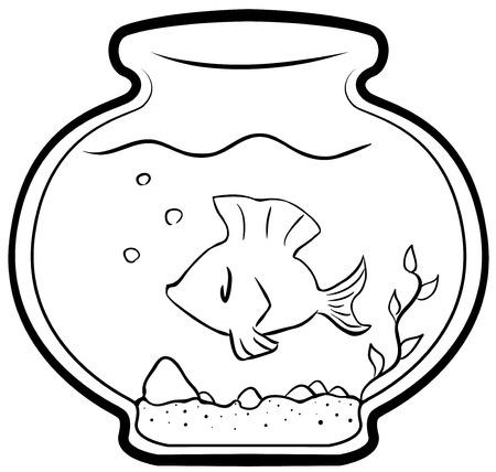 Pet fish cartoon line drawing, vector, horizontal, over white