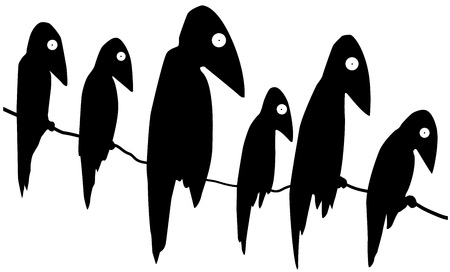 Birds six crows perched cartoon silhouettes black, vector illustration, horizontal, over white, isolated 일러스트