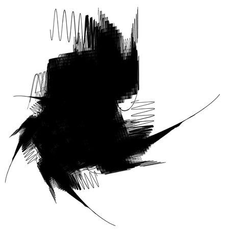 Black hole resonate ink abstract illustration, horizontal, isolated, over white Stock Photo