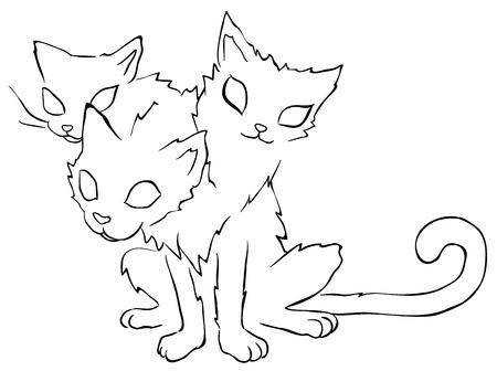 Three headed cat line drawing, vector, horizontal, over white Çizim