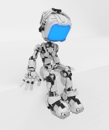 Screen robot figure character pose sitting on ledge, 3d illustration, vertical 写真素材