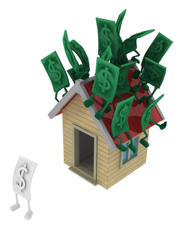 Dollar money symbol cartoon characters on top of house one colorless homeless, 3d illustration, horizontal, isolated, over white Stock Photo