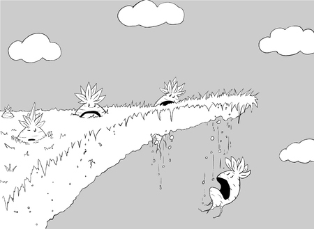 Vegetables dropping through cliff edge, funny cartoon line drawing, vector, horizontal Illustration