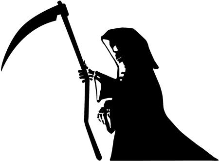Figura di morte con stencil falce nero, illustrazione vettoriale, orizzontale, isolata