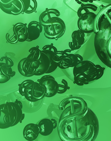 Dollar sign money bubble reflections green abstract 3d illustration, vertical
