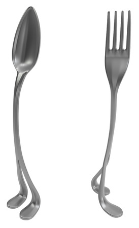 Fork and spoon metal with legs, 3d illustration, vertical, isolated, over white