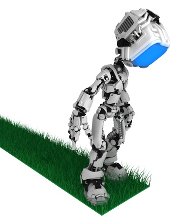 Screen robot figure character pose standing on grass path end, 3d illustration, horizontal, isolated