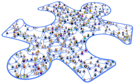 Crowd of small symbolic 3d figures linked by lines, complex layered system framed jigsaw piece cut out, over white, horizontal, isolated Banque d'images