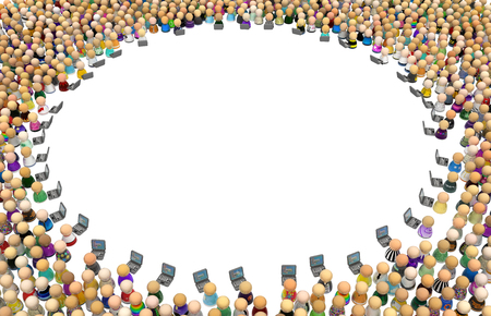 Crowd of small symbolic figures, laptops circle empty, 3d illustration, horizontal background, over white, isolated