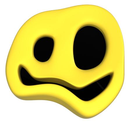 Happy face odd symbol object, 3d illustration, horizontal, isolated, over white Stock Photo