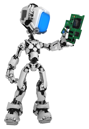 Screen robot figure character pose holding electronic circuit component, 3d illustration, vertical, isolated 写真素材