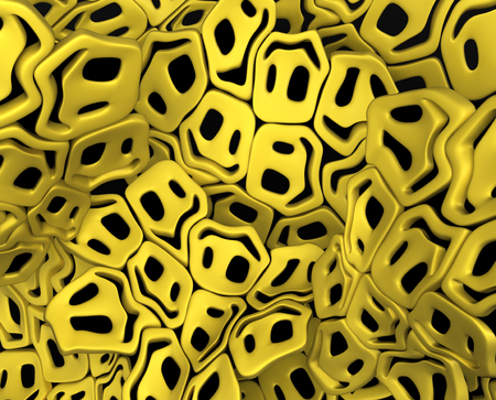Happy face odd symbol objects abstract, 3d illustration, horizontal background